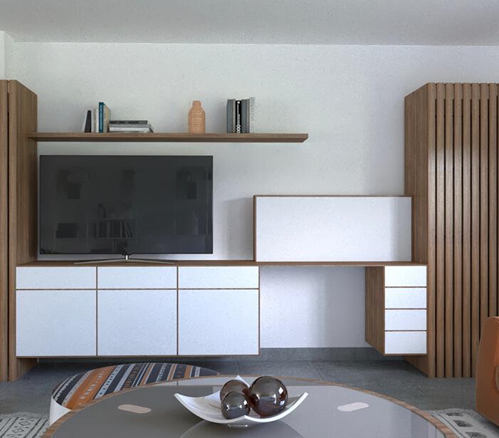Mumarq Interiorismo y Arquitectura - Diseño de mueble frontal televisor