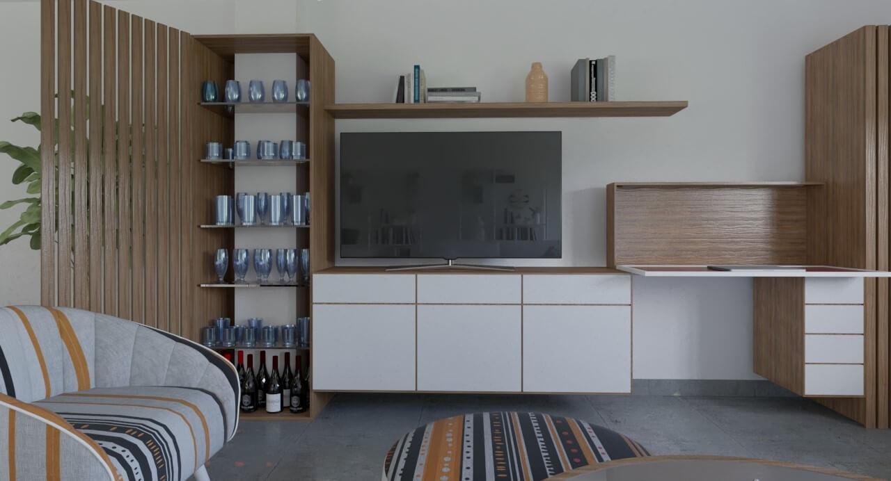 Mumarq Interiorismo y Arquitectura - Diseño de mueble parador y televisión